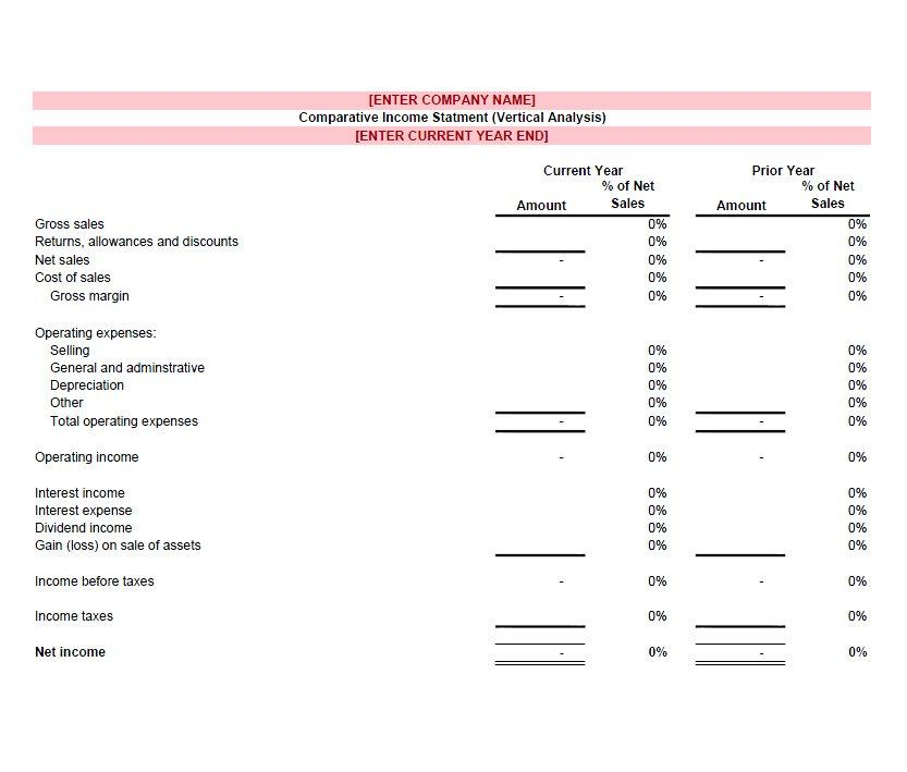 Income Statement Template Blank  Blank Income Statement