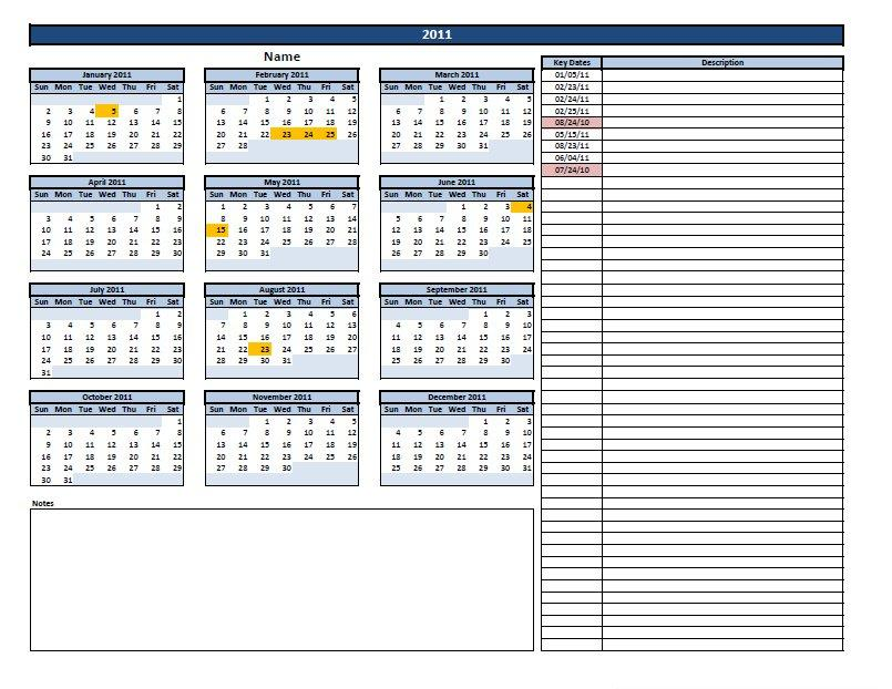 excel calendar with key dates template