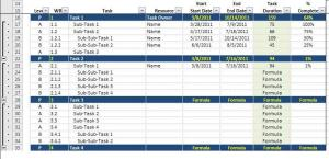Gantt Chart Data Entry
