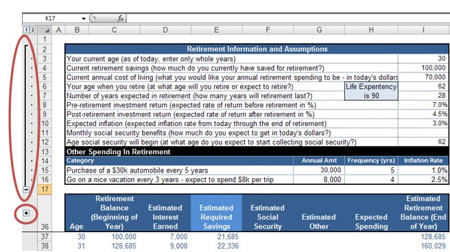 Free Excel Template  Retirement Calculator