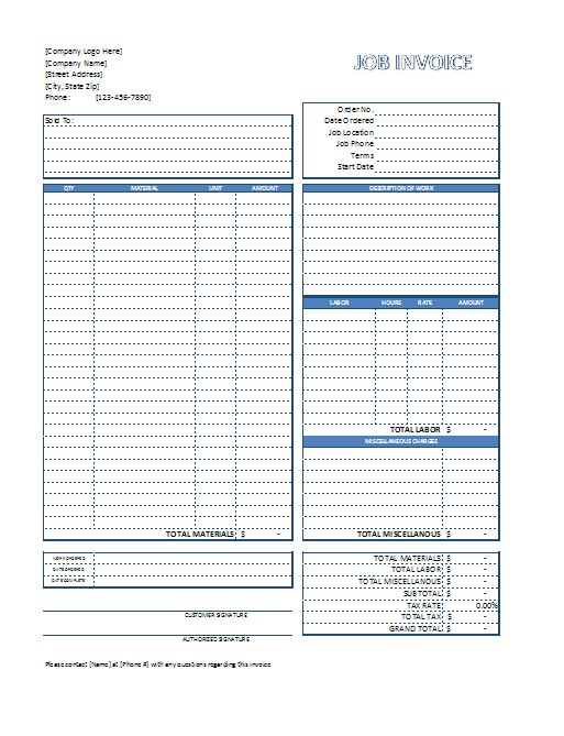 Excel Job Invoice Template Free Download