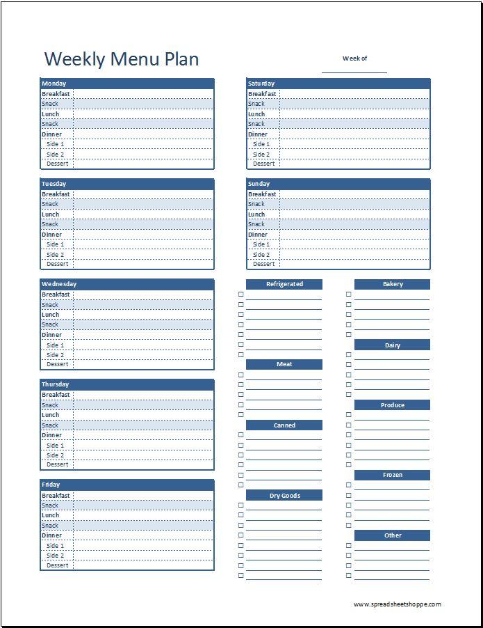 weekly menu planning template