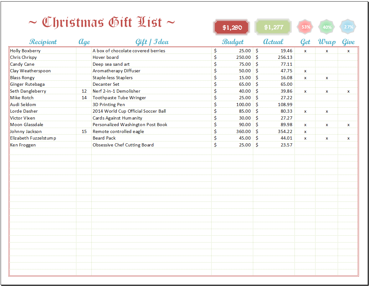 Excel Christmas List Template – Christmas Checklist Template