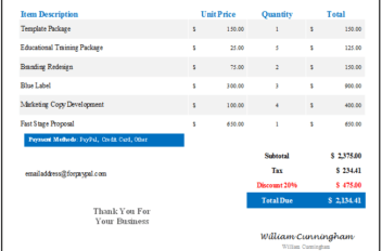 Denali Invoice Template - Blue