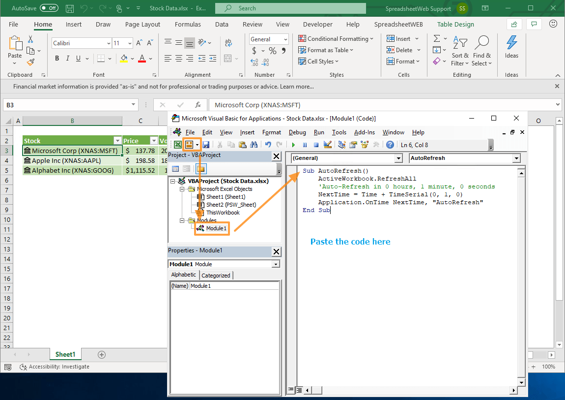 How To Refresh Stock Data In Excel