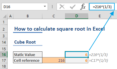 How to find square root in Excel