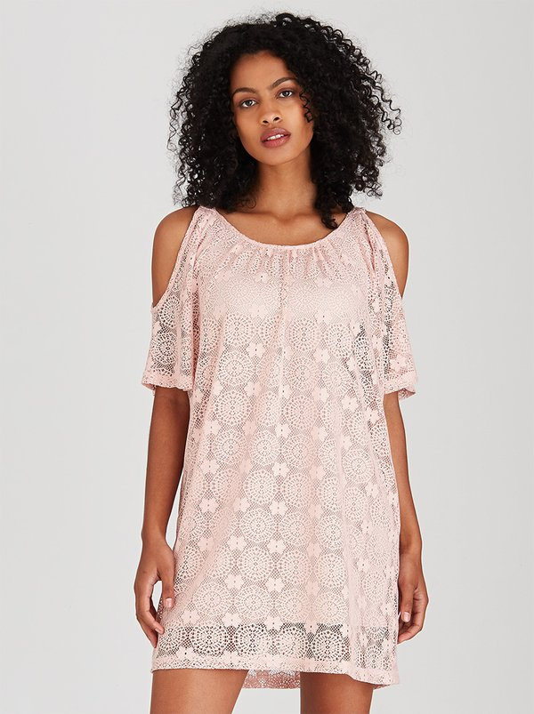 cinch Cold Shoulder Lace Dress Pale Pink I72Y9T7 spree