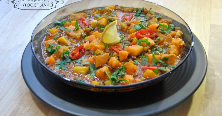 Winter detox soup with sweet potato and green lentil