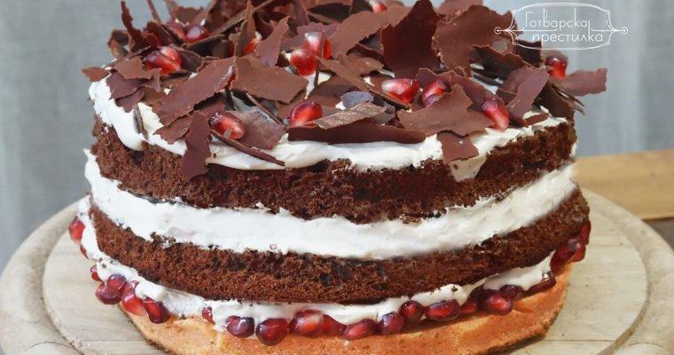 Коледна торта с нар и мока крем