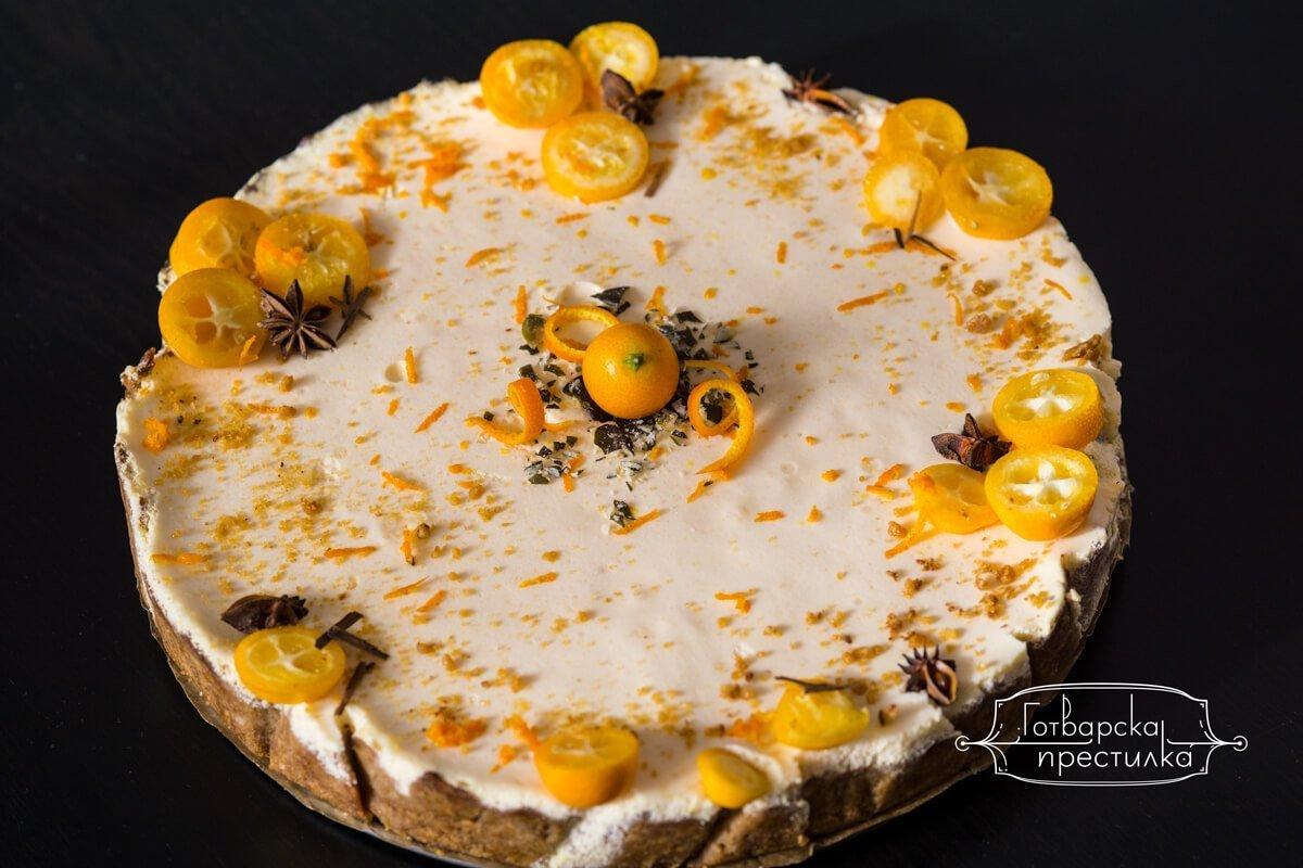 Лека торта с фреш от мандарини и сметана