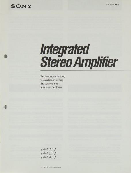 Sony TA-F 170 / 270 / 470 Operating Instructions