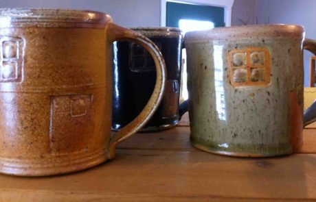 finished ceramic mugs