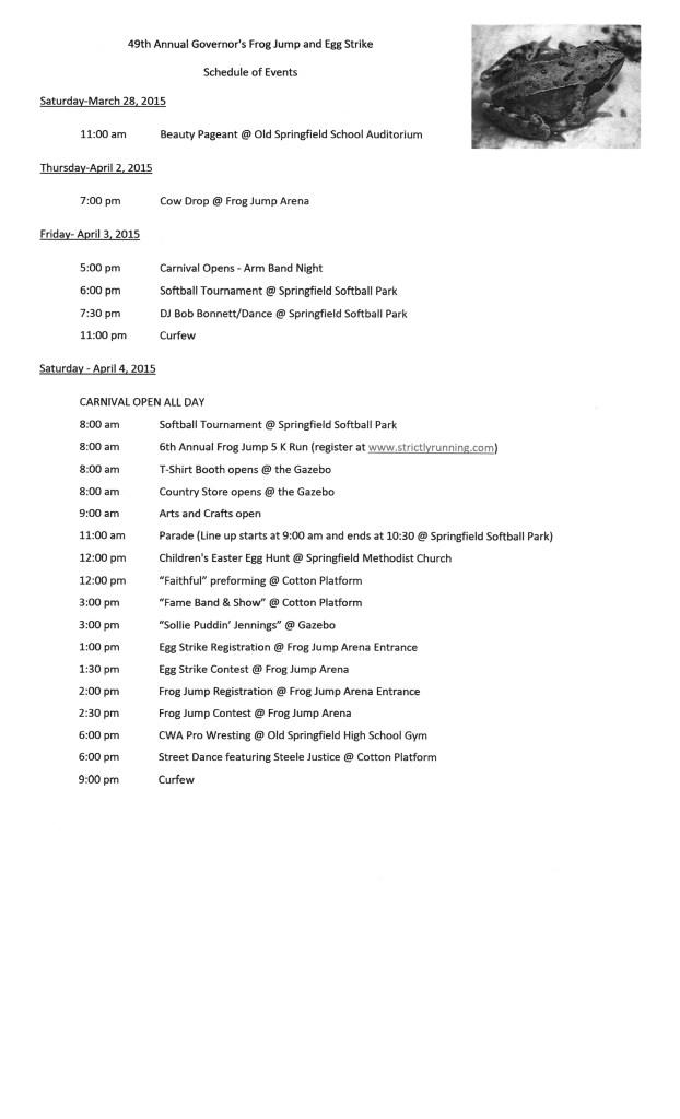 Frog Jump Schedule 2015