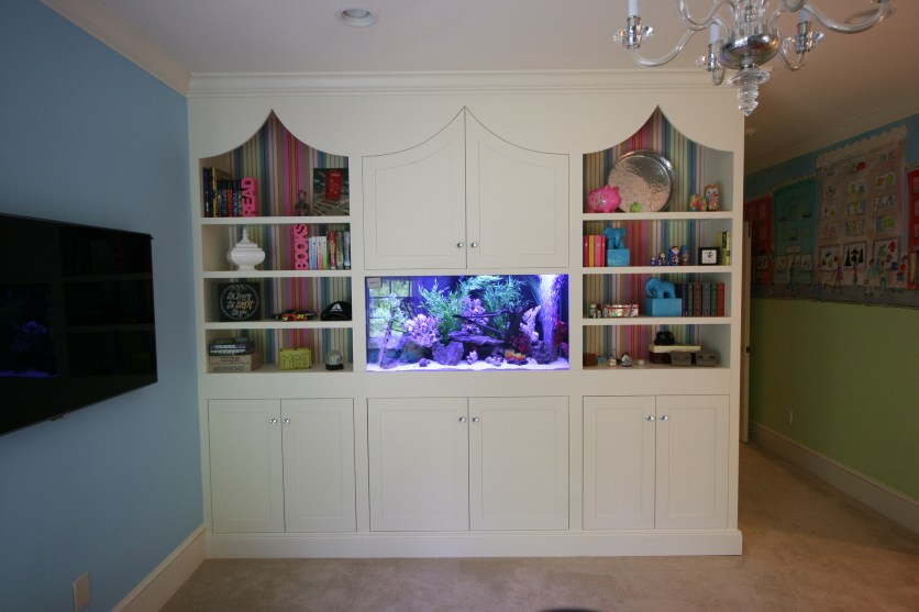 white custom bookcase
