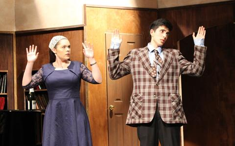 Spring High School Sophomore Toneelea Shaftner and senior Gabriel Saenz rehearse a scene from 'The Musical Comedy Murders of 1940'