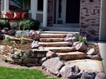 Stone Steps with Planters and Lighting colorado springs