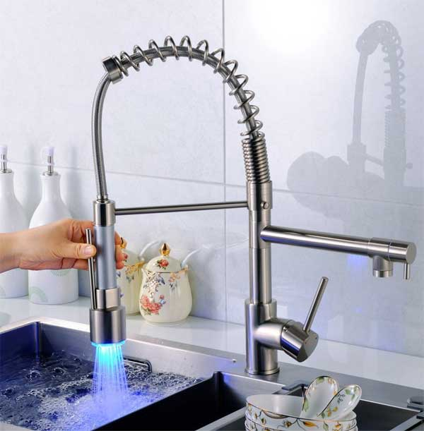 led kitchen faucet white sink with drainboard pull down the best deal i ve found fapully thermal coiled spring spout