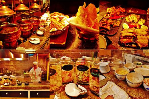 Indian curries with naans & papadums, samosas, roti john, paratha, live satay station, assorted keropok and live prawn noodles/laksa station