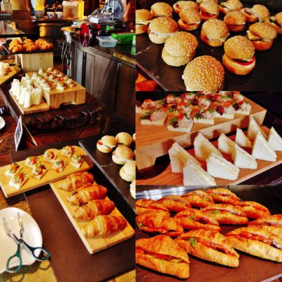The sandwich corner had filled croissants, open faced sandwiches, regular sandwiches and burgers