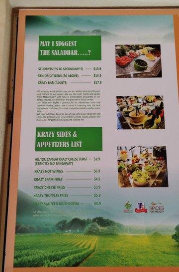 Krazy Salad Bar Menu