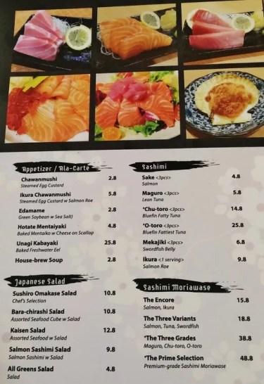 Sushiro menu