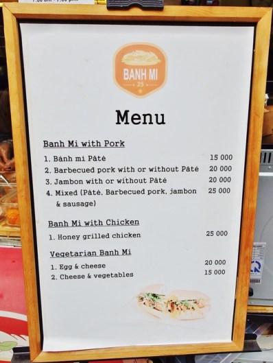 Banh Mi 25 menu