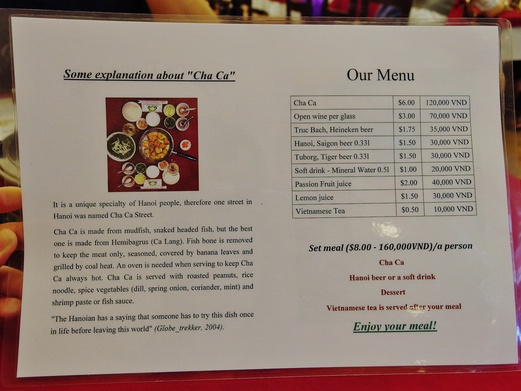 Cha Ca Thang Long menu