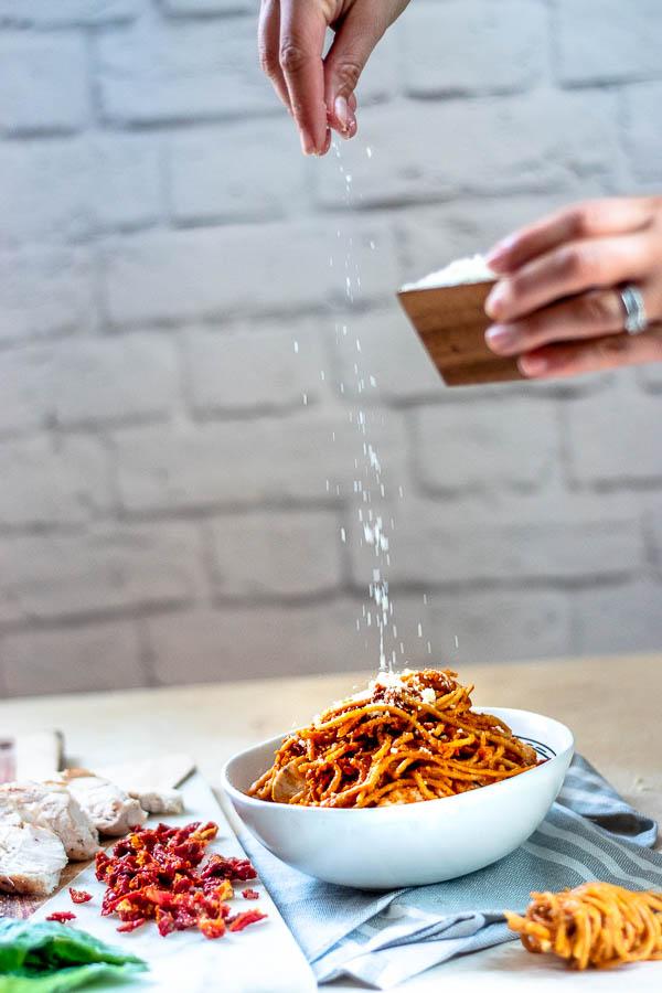 lightened-up sun dried tomato pasta