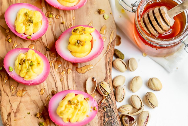 Beet Pickled Goat Cheese Deviled Eggs