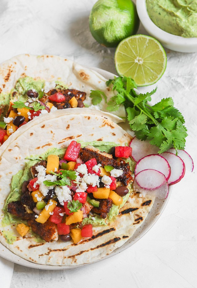 Fish Tacos with Mango Watermelon Salsa