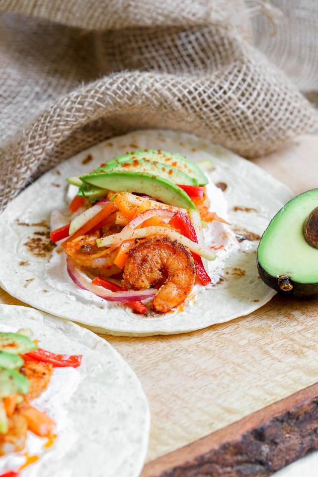Blackened Shrimp Tacos with Sweet Pepper Slaw