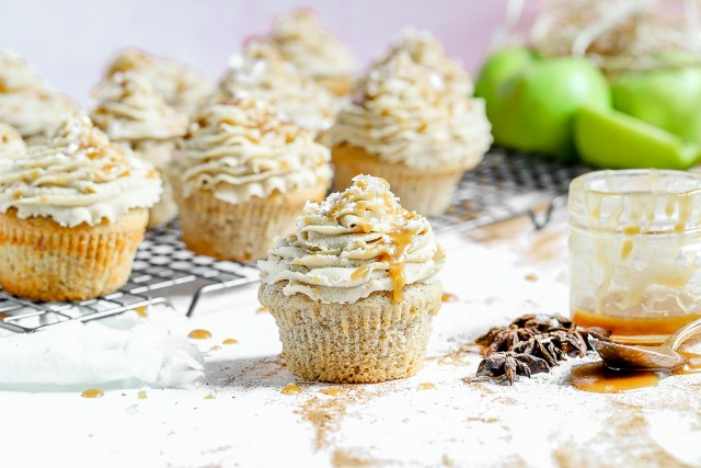 Apple Pie Stuffed Chai Spiced Cupcakes with Salted Caramel Frosting