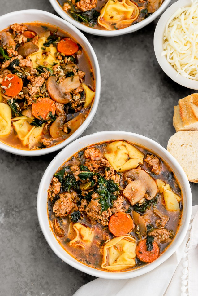 Tortellini Sausage Soup with Vegetables