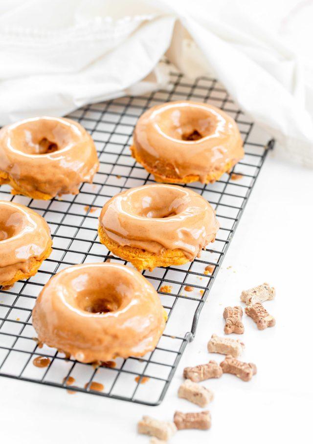 Peanut Butter Glazed Sweet Potato Doggy Donuts