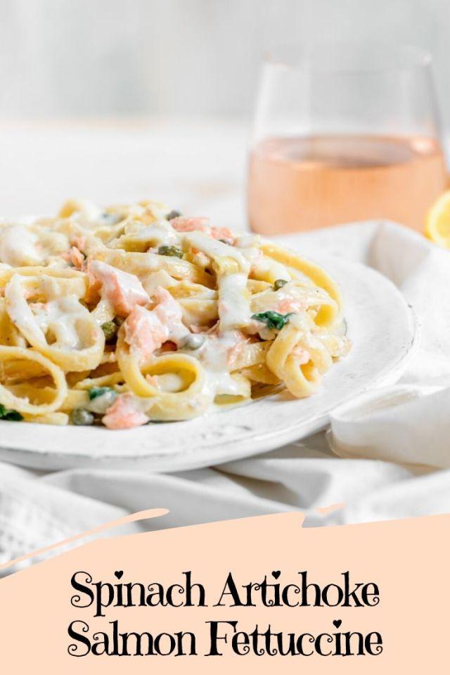 Spinach Artichoke Salmon Fettuccine