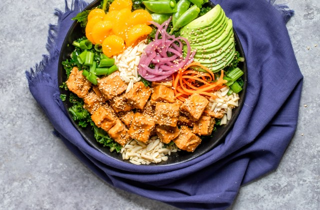 Asian Sesame Tofu and Kale Salad