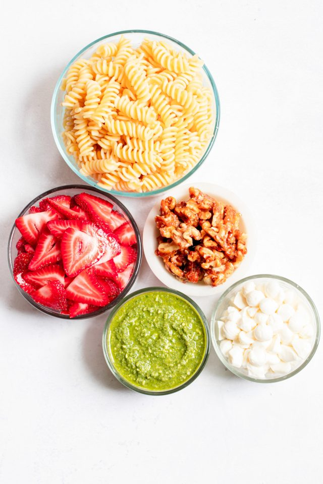 Strawberry Pesto Pasta Salad, ingredients