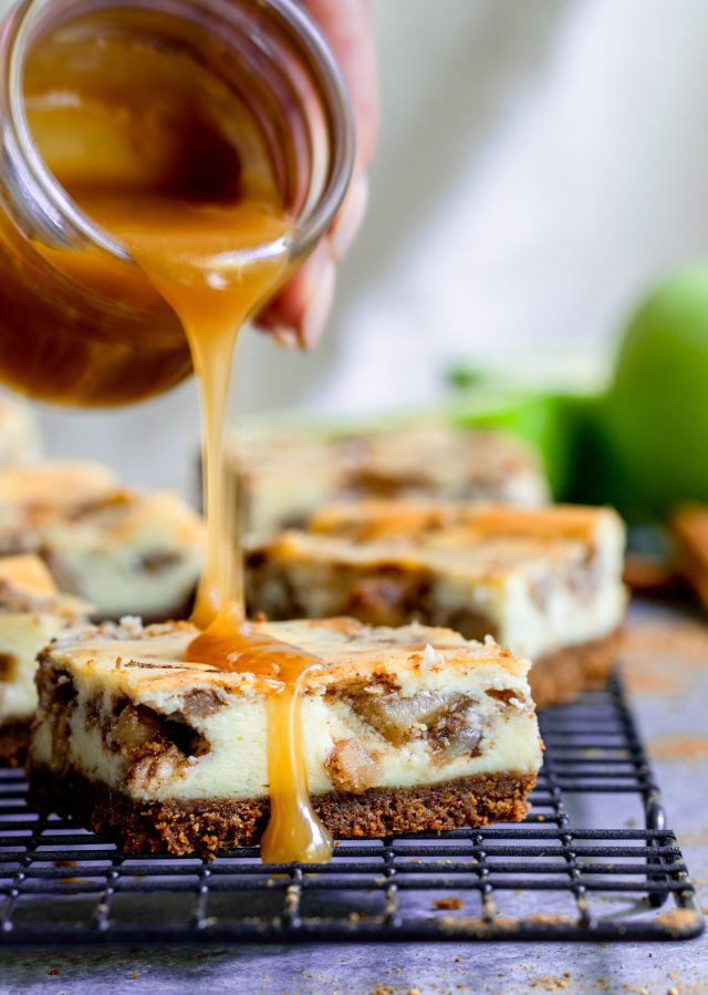 Chai Apple Pie Cheesecake Bars with Caramel Sauce