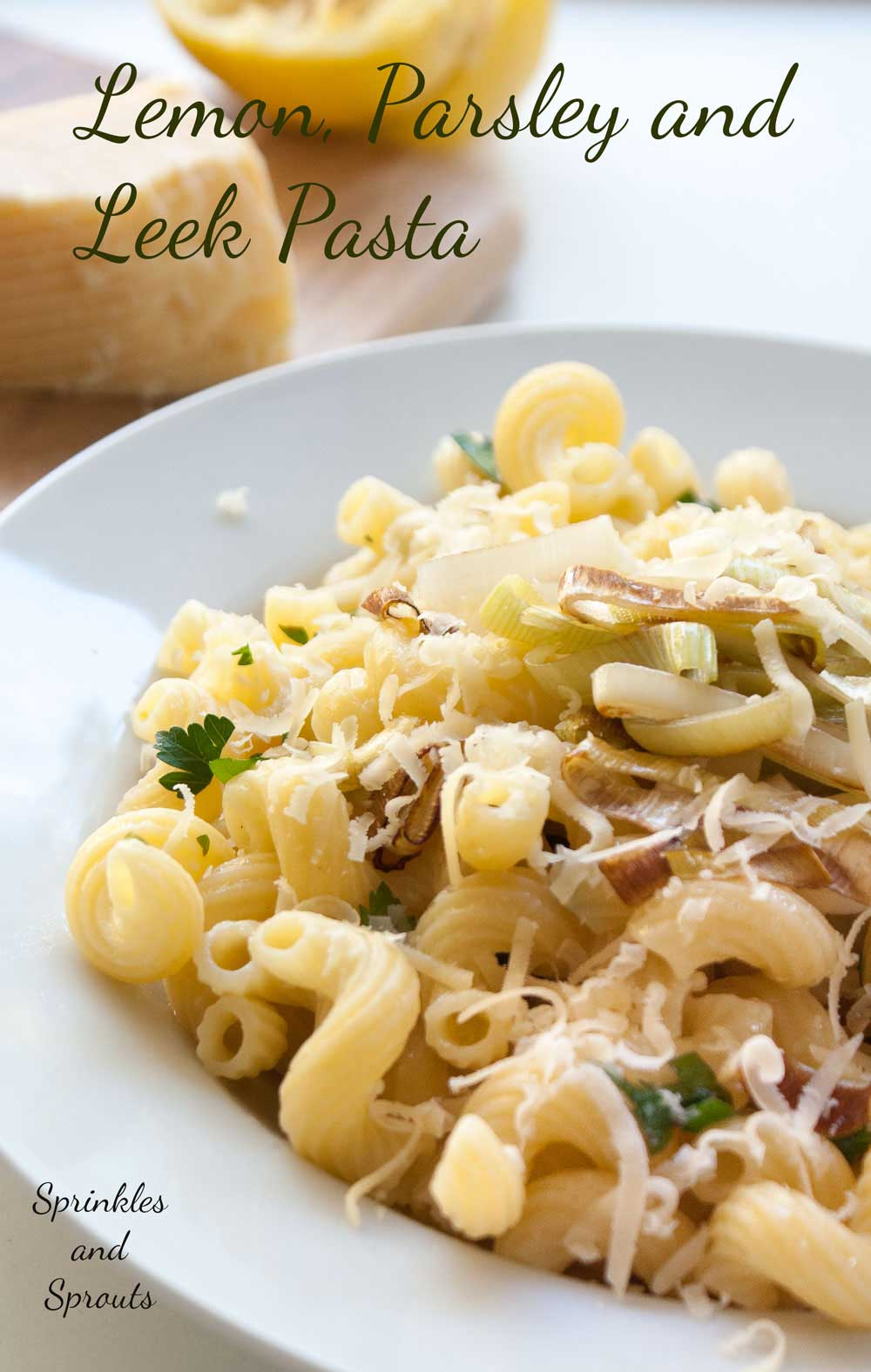 Lemon, Parsley and Leek Pasta. A delicious and simple vegetarian pasta recipe.