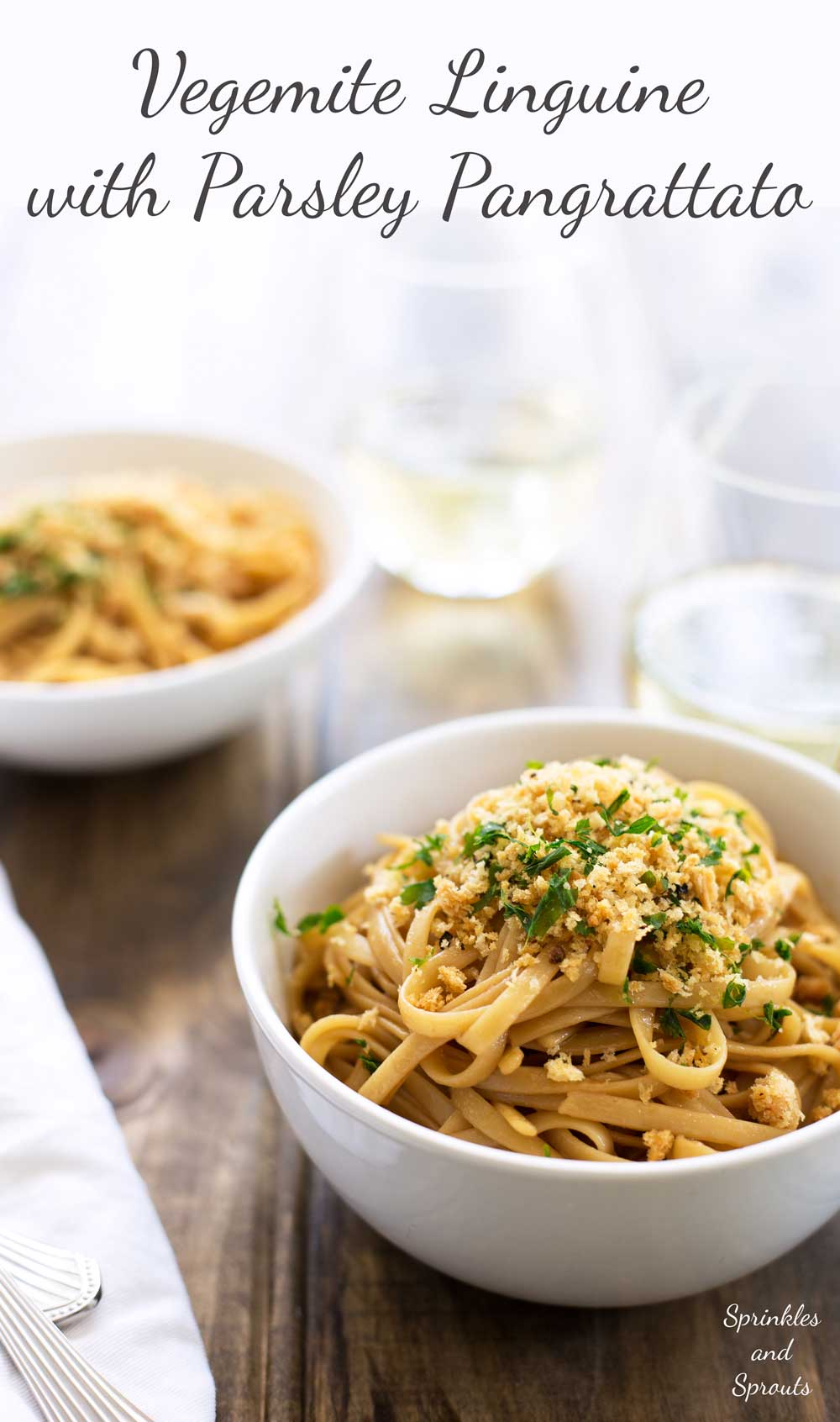 Vegemite Linguine with Parsley Pangrattato. An Italianised version of the Australian Vegemite on Toast. This is unusual but delicious. A great vegan pasta dish.