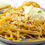 Red Chilli Pesto Pasta with Mascarpone. A quick, spicy and delicious vegetarian pasta dish. This is perfect for feeding a crowd or for a quiet night in.