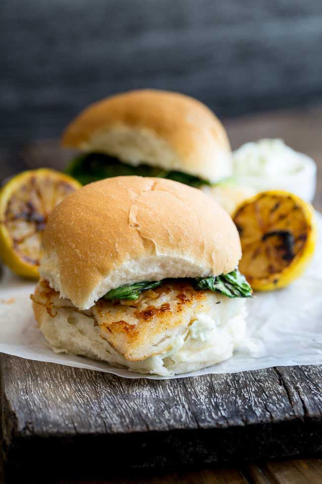Fish Burger with Charred Lettuce & Tarragon Mayo