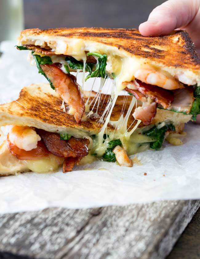 Is there anything more comforting that a grilled cheese sandwich??? And this shrimp and bacon grilled cheese sandwich takes the humble grilled cheese up a level! This is a gourmet grilled cheese sandwich!