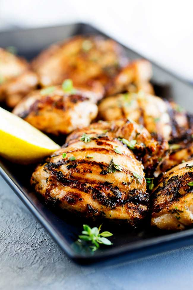This Grilled Apple Cider Thyme Chicken is juicy and full of flavour, slightly sweet from the cider but with a wonderful floral note and savoury grilled flavour.