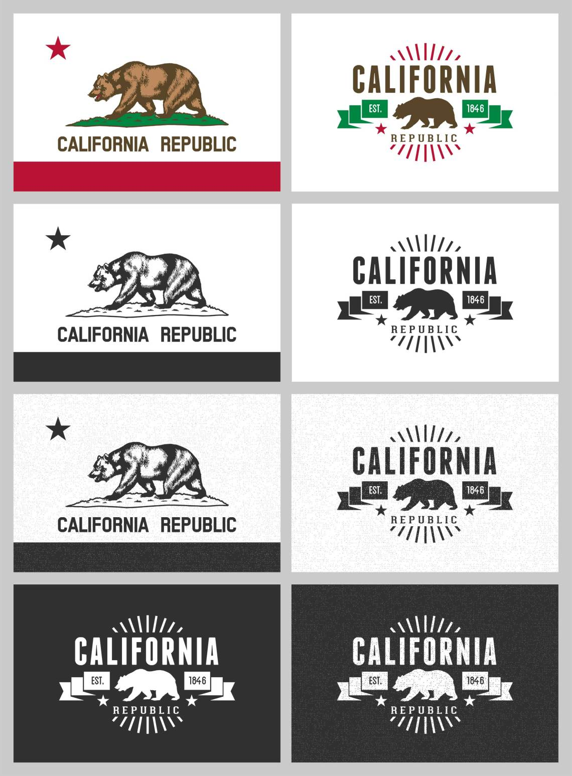 California Bear Flag Vecotr Download - FREE California Flag Logo vectors