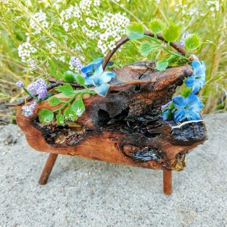 Floral Blue Fairy Bench with live edge handmade by Sprouted Dreams10