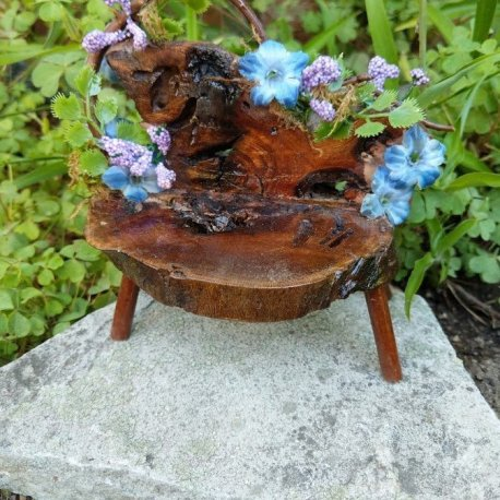 Floral Blue Fairy Bench with live edge handmade by Sprouted Dreams11