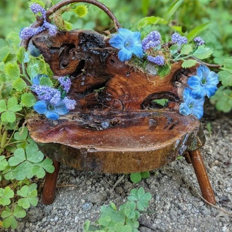 Floral Blue Fairy Bench with live edge handmade by Sprouted Dreams6