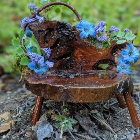 Floral Blue Fairy Bench with live edge handmade by Sprouted Dreams7