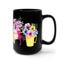 Floral Fairy Mug, 15 oz Fairy Flower Cup, Fairy Gardener Mug
